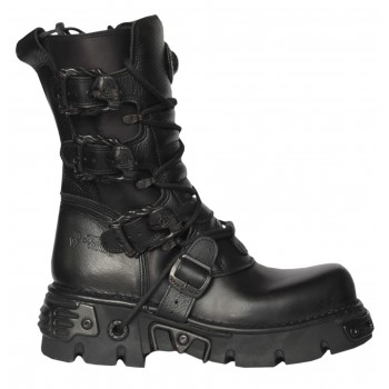 New Rock Black Leather Biker Metallic Reactor Boots - M.391-S18