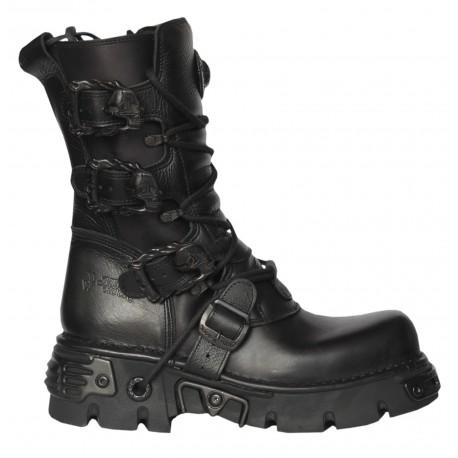 New Rock Black Leather Biker Metallic Reactor Boots - M.391-S18