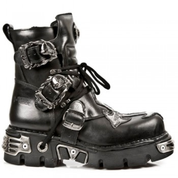 New Rock Black Leather Metallic Reactor Biker Boots - M.407-S1