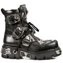 New Rock Black Leather Metallic Reactor Biker Boots - M.407-S1