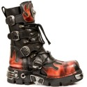 New Rock Black Leather Dashing Fire Print Biker Boots - M.591-S1
