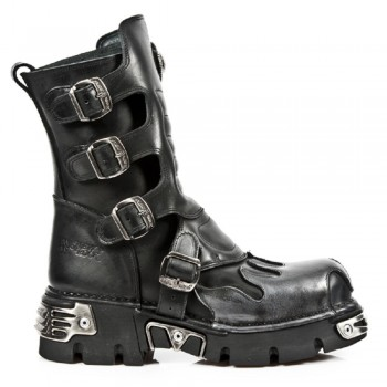 New Rock Unisex Black Leather Biker Gothic Boots - M.591-S3