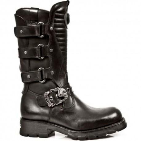 New Rock Black Leather Biker Long Boots - M.7604-S1