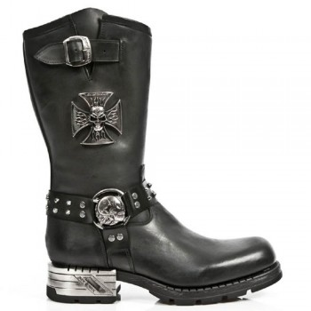 New Rock Black Leather Skull Metallic Boots - M.MR030-S1