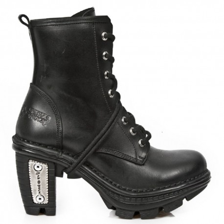 New Rock Black Leather Silver Heel Biker Boots - M.NE0T008-S1