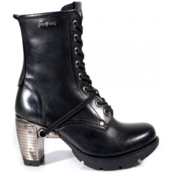New Rock Mens Women Unisex Black Leather Steel Heel Biker Boots - M.TR001-S1
