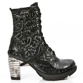 New Rock Black Leather Unisex Biker Steel Heel Boots - M.TR001-S24