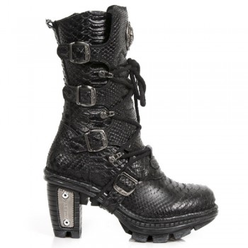 New Rock Women Ladies Black Snake Print Leather Biker Metallic Heel Boots - NEOTR005-S19