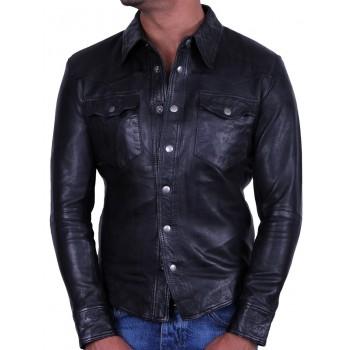 Men's Black Leather Shirt Jacket - Danzel