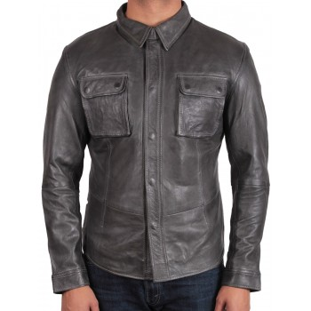 Men's Black Leather Shirt Jacket - Bristol