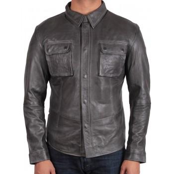 Men's Black Leather Shirt Jacket - Bristol