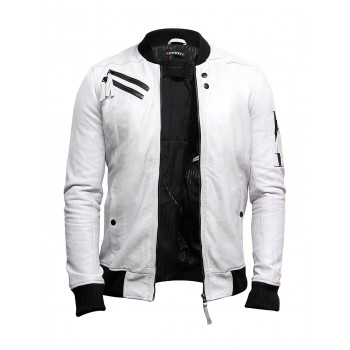 Men's Casual Bomber Varisty White Wax Nappa Leather Bomber Jacket