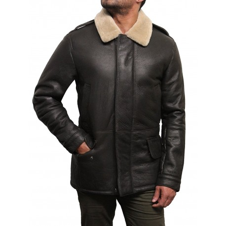 Men's Luxury Sheepskin Aviator Flying Jacket Long Coat