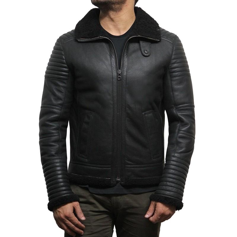 Men's Black sheepskin flying jacket - Irish - Brandslock