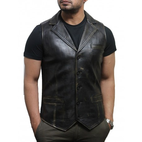 Men's Vintage Rub Off Smart Leather Waistcoat Designer Fit-Ansel