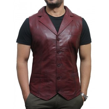 Men's Vintage Burgundy Smart Leather Waistcoat Designer Fit-Ansel