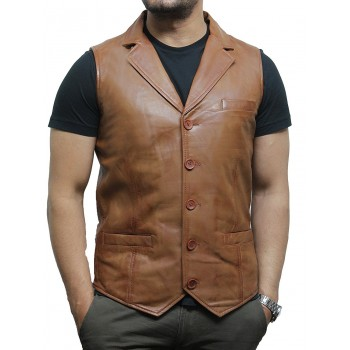 Men's Vintage Tan Smart Leather Waistcoat Designer Fit-Ansel