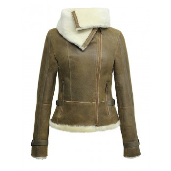 Ladies Women Short Fitted Rust Biker Style Real Shearling Sheepskin-Gisa