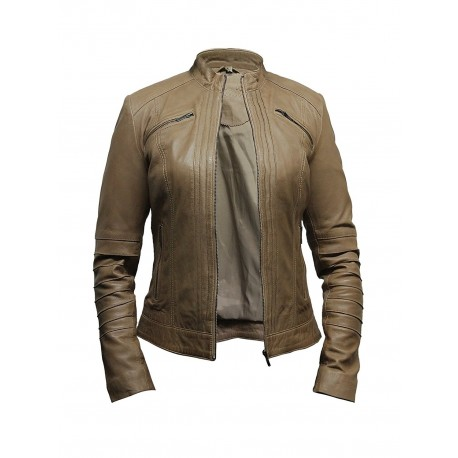 Ladies Women's Sheepskin Real Leather Biker Jacket Designer look