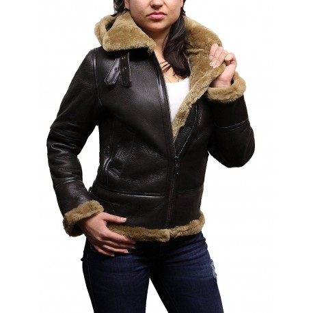 Ladies Women's Hooded Aviator Real Shearling Sheepskin Flying ...