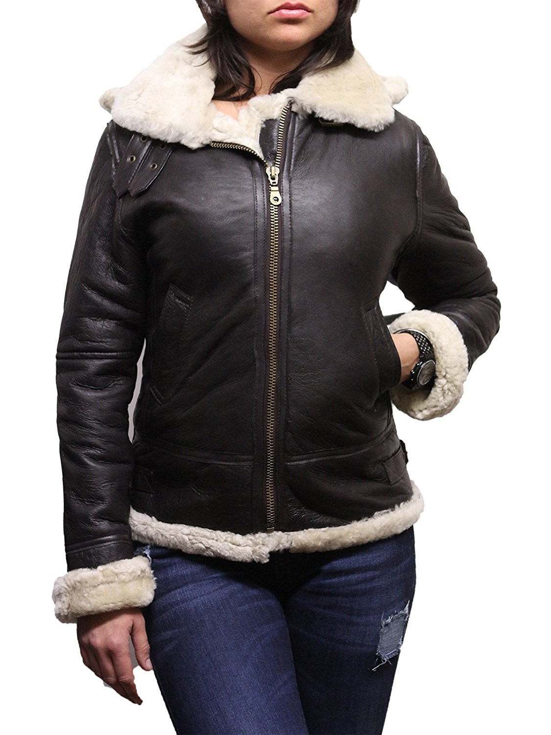 Ladies Women's Cream Hooded Aviator Real Shearling Sheepskin ...