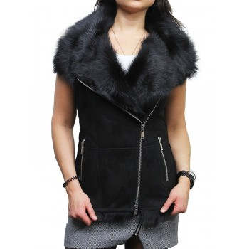 Women's Black Real Suede Luxurious Toscana Spanish Merino Sheepskin Leather Gilet-Gina