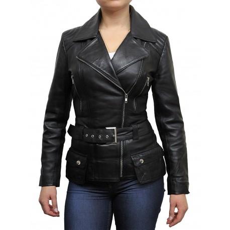 Ladies Women Stylish Black Leather Biker Jacket-Kate