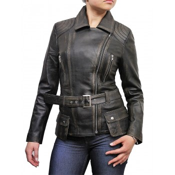 Ladies Women Stylish Black Ruboff Leather Biker Jacket-Kate