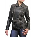 Ladies Women Stylish Black Ruboff Leather Biker Jacket-Kate