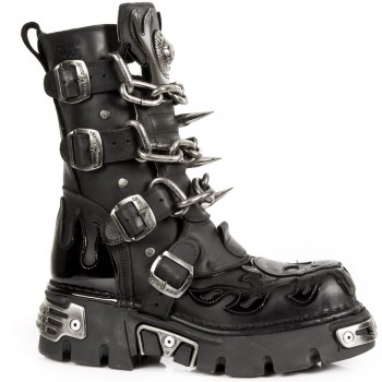 New Rock Unisex Black Stylish Boots -M 727 S1