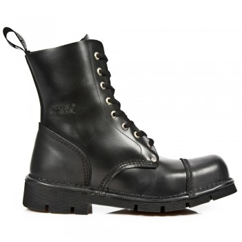 New Rock Men's New Mili Black Leather Boots - M.NEWMILI083-S1