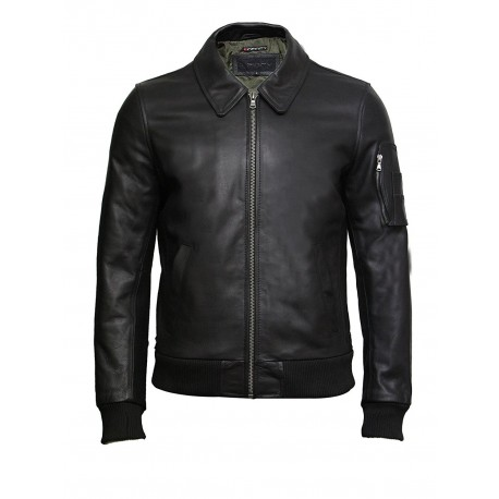 Brandslock Men's Black A2 Cowhide Analine Leather Bomber Flying Jacket-Alvin