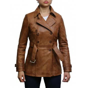 Women's Tan Superior Leather Biker Jacket Coat Vintage Retro Design-Zoe