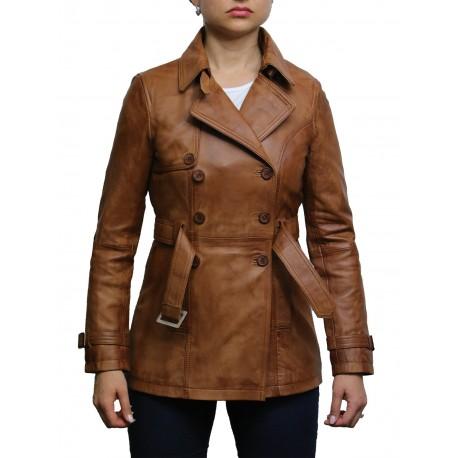 Women's Tan Superior Leather Biker Jacket Coat Vintage Retro Design-Zoe
