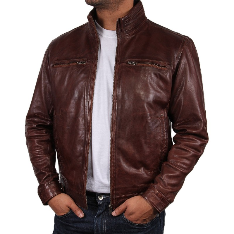 Mens light tan leather jacket – Modern fashion jacket photo blog