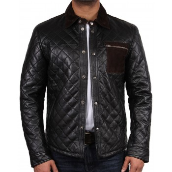 Men's Black Leather Jacket - Patched