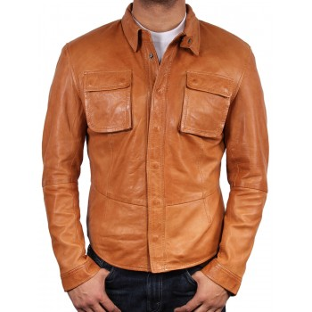 Men's Tan Leather Shirt Jacket - Atlantic