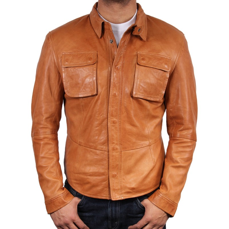 Men s tan leather shirt jacket atlantic for Leather jacket and shirt