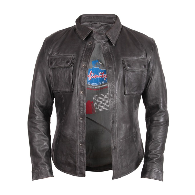 Mens gray leather jacket