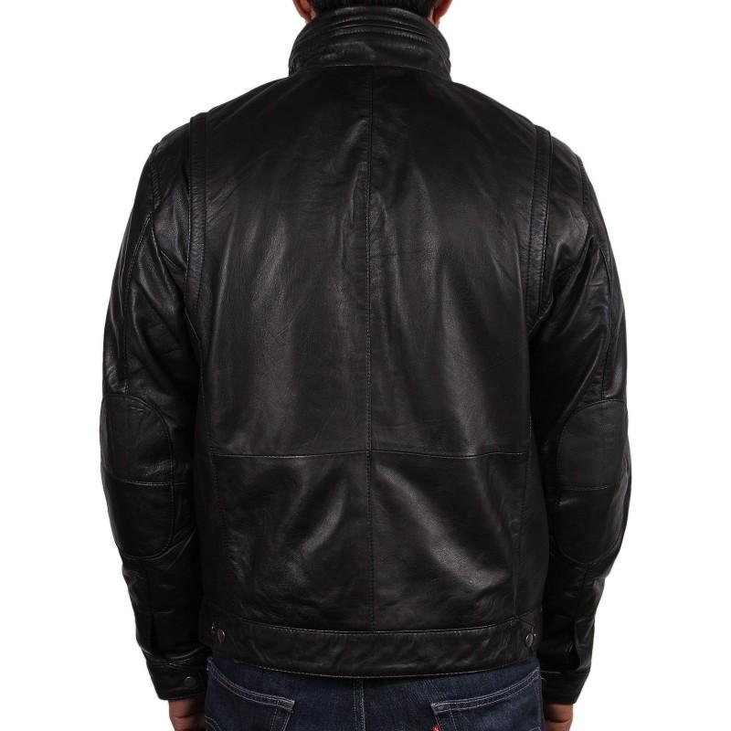 Men S Black Leather Jacket Chicago