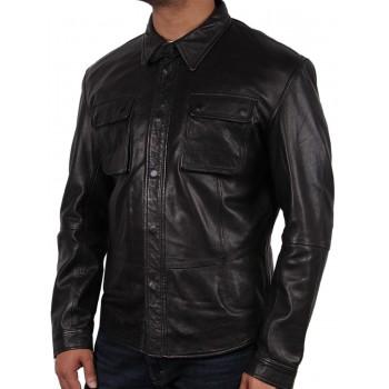 Men's Black Leather Shirt Jacket - Atlantic