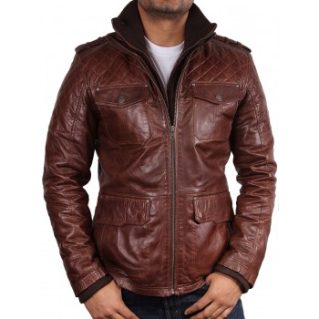 Men's Brown Leather Jacket - Navas
