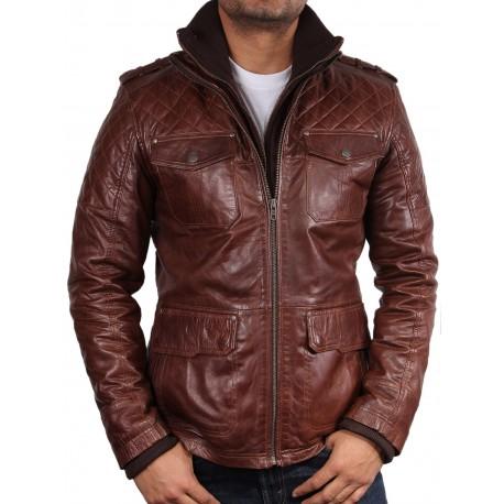Men's Brown Leather Biker Jacket - Brandon