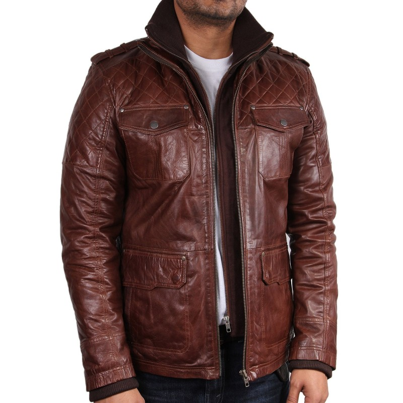 Brown leather motorcycle jacket men