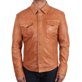 Men's Tan Leather Shirt Jacket - Danzel