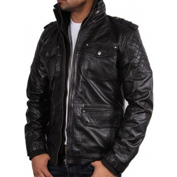 Men's Black Leather Jacket - Navas