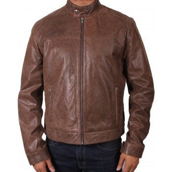 Men's Brown Leather Biker Jacket - Harvey