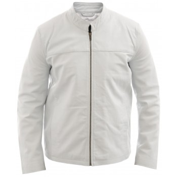 Men's White Leather Biker Jacket - Morales