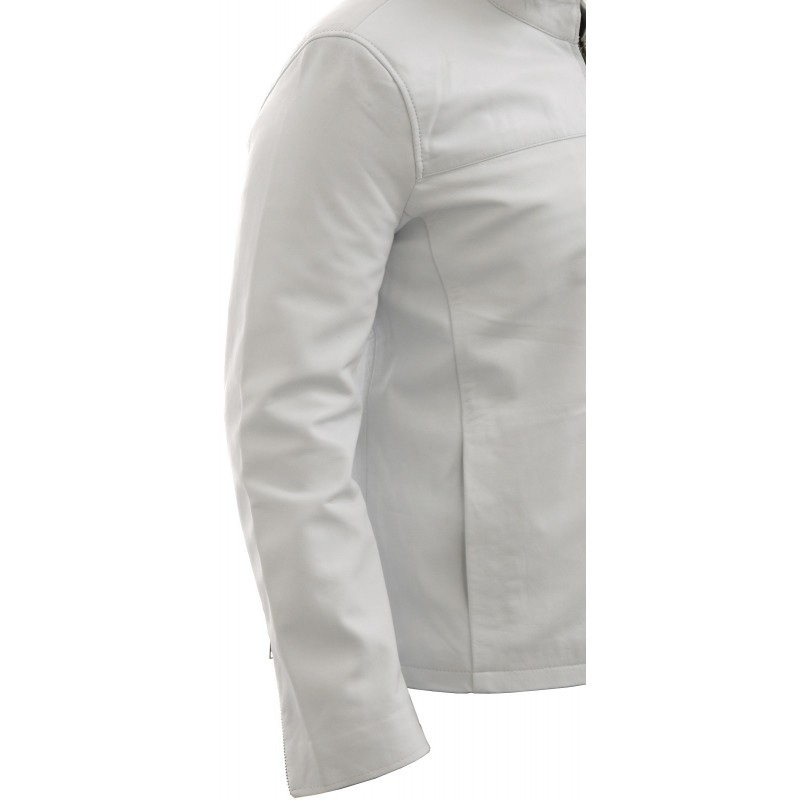 Men's White Leather Jacket - Morales