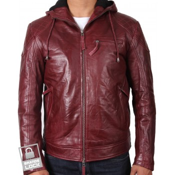Men's Burgundy Leather Bomber Jacket - Majento